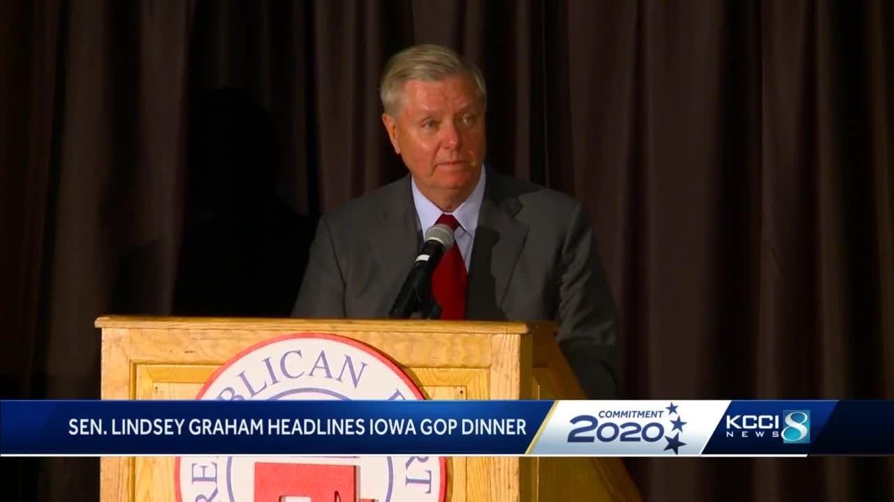 Sen. Lindsey Graham Calls Impeachment Inquiry a 'Joke' at Iowa GOP Dinner 1