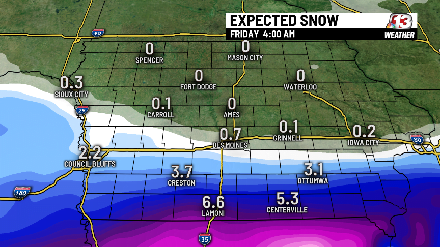Snow Likely For Central and Southern Iowa Thursday 1