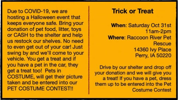Raccoon River Pet Rescue to host drive-through costume contest 1