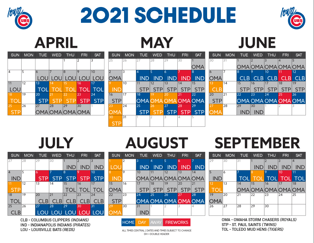 IT'S HERE: 2021 IOWA CUBS DATES RELEASED 8
